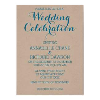 Aqua Text on Ecru Personalized Wedding Invitations