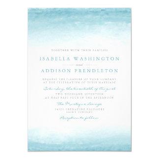 Aqua Tides | Watercolor Wedding 11 Cm X 16 Cm Invitation Card