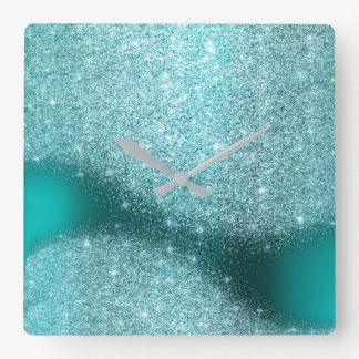 Aqua Tiffany Glitter Teal Metal Glass Gray Minimal Square Wall Clock