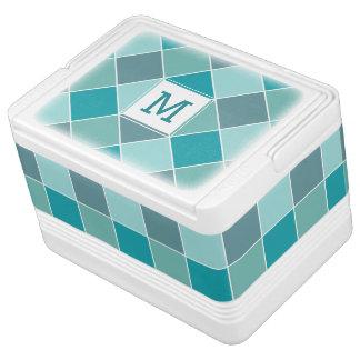 Aqua Tile Pattern custom monogram coolers Igloo Cool Box