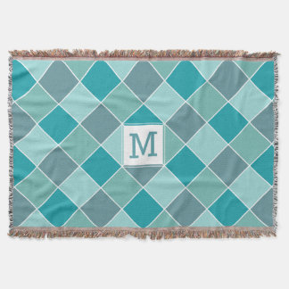 Aqua Tiles custom monogram throw blanket