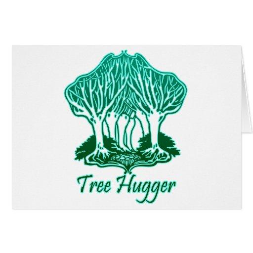 Aqua Tree Hugger Nature Environmentalist Greeting Card