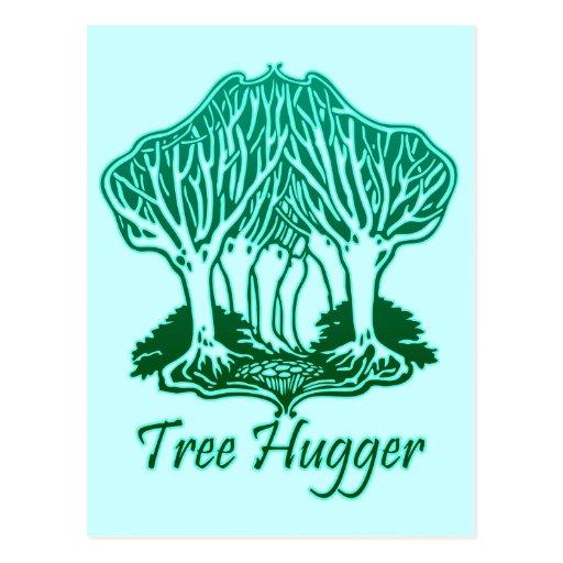 Aqua Tree Hugger Nature Environmentalist Postcard