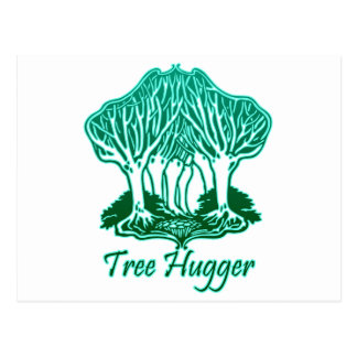 Aqua Tree Hugger Nature Environmentalist Postcard