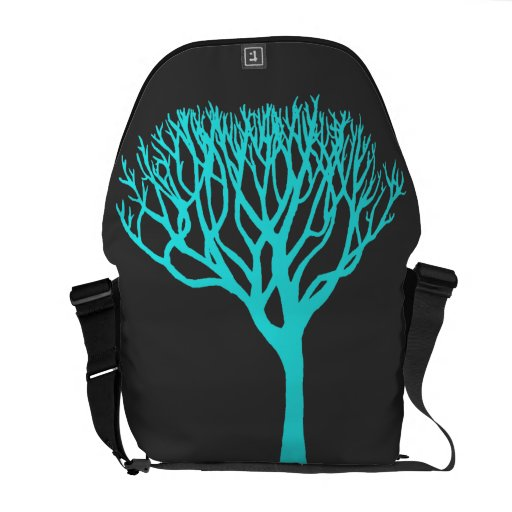 Aqua Tree Silhouette Courier Bags
