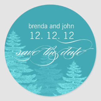 Aqua Trees Save the Date Winter Wedding Sticker