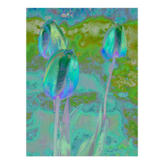 Aqua Tulip Digital Art Poster
