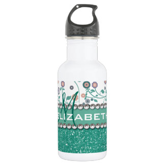 Aqua Turqoise Monogram Flower Glitter Pattern 532 Ml Water Bottle