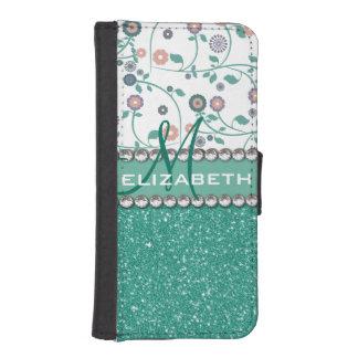 Aqua Turqoise Monogram Flower Glitter Pattern iPhone SE/5/5s Wallet Case