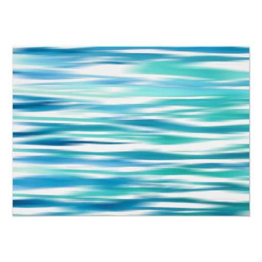 Aqua Turquoise Abstract Stripes Poster
