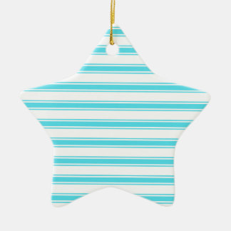 Aqua Turquoise and White Stripes; Striped Ceramic Star Decoration
