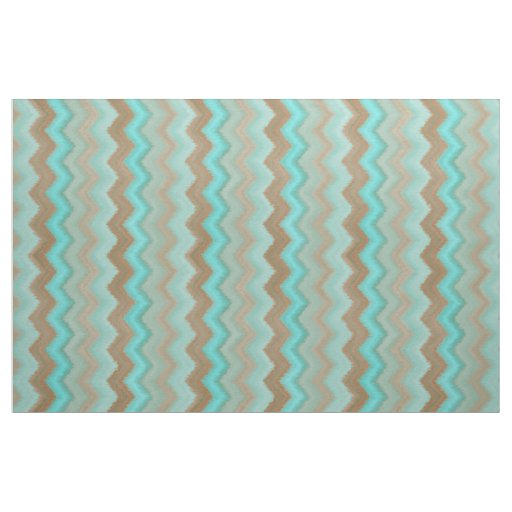 Aqua Turquoise Blue Brown Ikat Zigzag Pattern Fabric