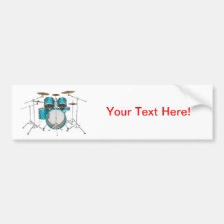 Aqua Turquoise Drum Kit Bumper Stickers