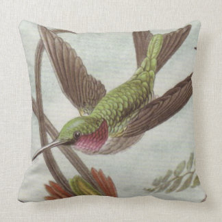 Aqua/Turquoise Hummingbird Decorative Throw Pillow