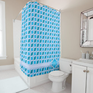 Aqua Turquoise Icy Diamond Pattern Monogram Shower Curtain