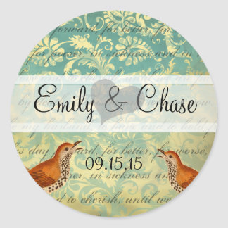 Aqua Turquoise Lovebirds Wedding Sticker