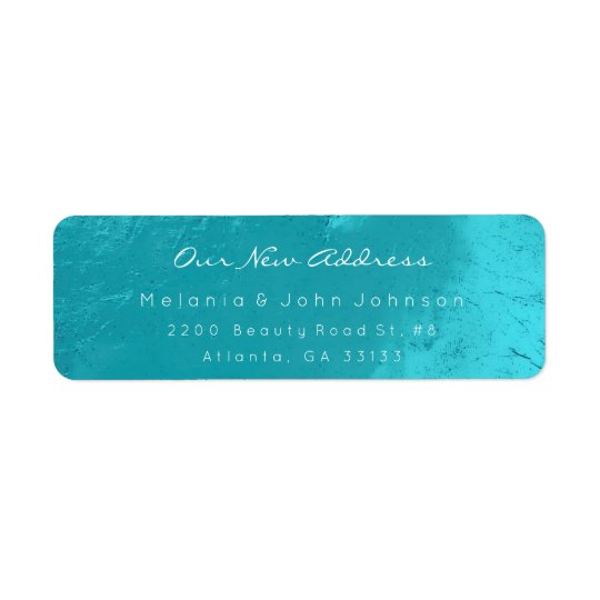 Aqua Turquoise Ocean White New Adress RSVP Return