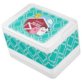 Aqua Turquoise Retro Farm Animal Baby Shower Igloo Cool Box