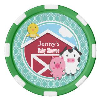 Aqua Turquoise Retro Farm Animal Baby Shower Poker Chip Set