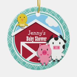 Aqua Turquoise Retro Farm Animal Baby Shower Round Ceramic Decoration