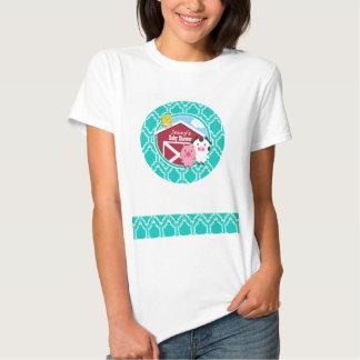 Aqua Turquoise Retro Farm Animal Baby Shower T-Shirt