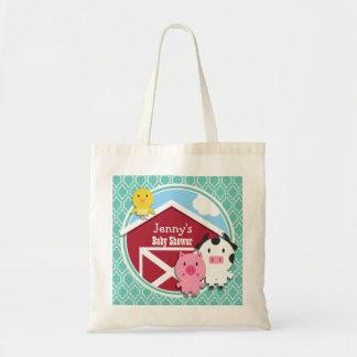 Aqua Turquoise Retro Farm Animal Baby Shower Bag