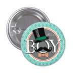 Aqua Turquoise Retro Funny Boy Baby Shower 3 Cm Round Badge
