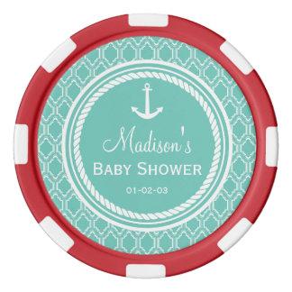 Aqua Turquoise Retro Nautical Anchor Baby Shower Poker Chips