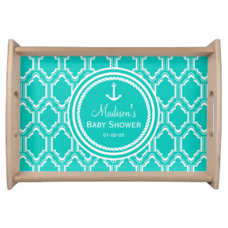 Aqua Turquoise Retro Nautical Anchor Baby Shower Serving Tray