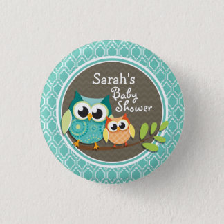 Aqua Turquoise Retro Owls Baby Shower 3 Cm Round Badge