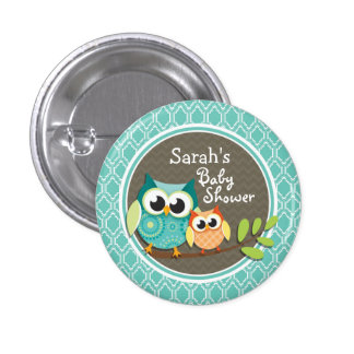Aqua Turquoise Retro Owls Baby Shower 3 Cm Round Badge