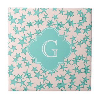 Aqua Turquoise Stars White Background Monogram Small Square Tile