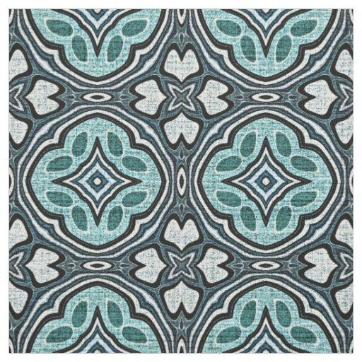 Aqua Turquoise Teal Blue Bali Batik Style Pattern