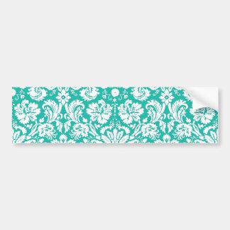 Aqua Turquoise Teal damask pattern Bumper Sticker