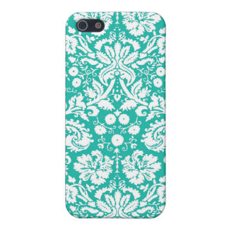 Aqua Turquoise Teal damask pattern iPhone 5/5S Cases