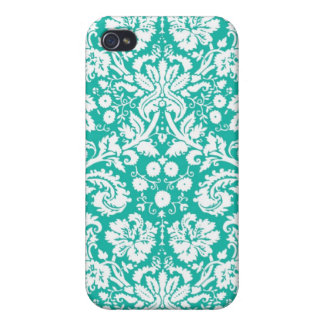 Aqua Turquoise Teal damask pattern iPhone 4 Case