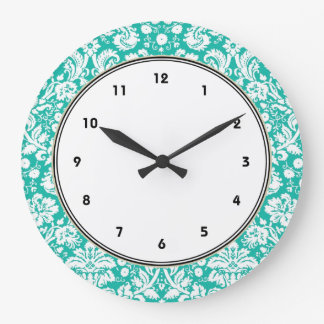 Aqua Turquoise Teal damask pattern Large Clock