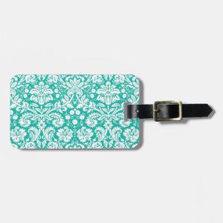 Aqua Turquoise Teal damask pattern Luggage Tag