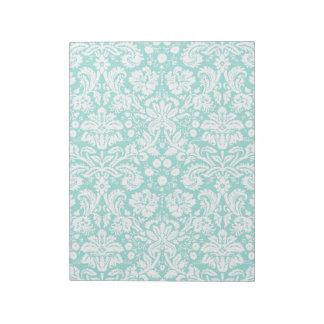 Aqua Turquoise Teal damask pattern Notepad