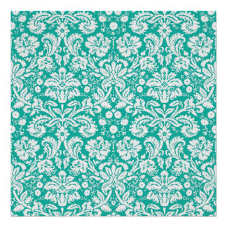 Aqua Turquoise Teal damask pattern Posters