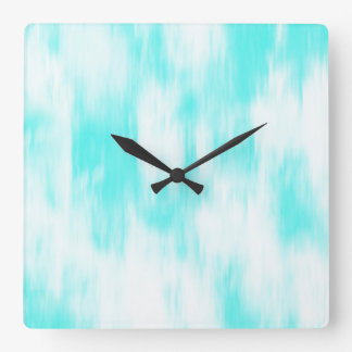Aqua Turquoise White Abstract Square Wall Clock