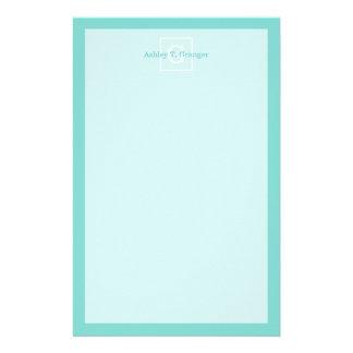 Aqua Turquoise White Framed Initial Monogram Customized Stationery