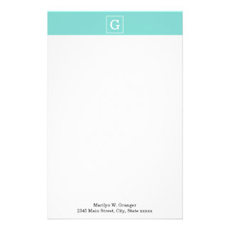 Aqua Turquoise White Framed Initial Monogram Personalized Stationery