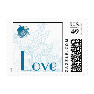 Aqua Turtle Love Anniversary  Postage Stamp