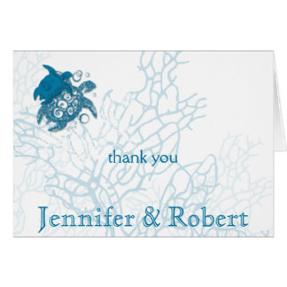 Aqua Turtle Love Anniversary Thank You Card
