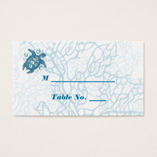 Aqua turtle Love Wedding Place Cards