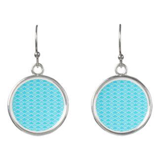 Aqua Two Tone Mermaid Scales Earrings