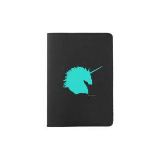 """Aqua Unicorn Sigil"" Black Passport Holder"