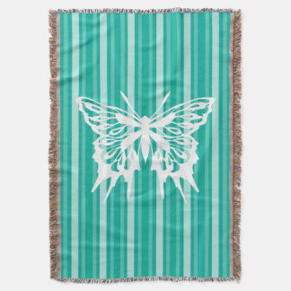 Aqua Victorian Stripe with Butterfly Throw Blanket