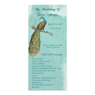 Aqua Vintage Bird Wedding Program Order of Service Rack Card